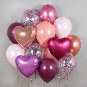 Комплект воздушных шаров с фольгированными сердцами