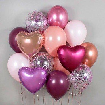 Шарики воздушные с фольгированными сердцами