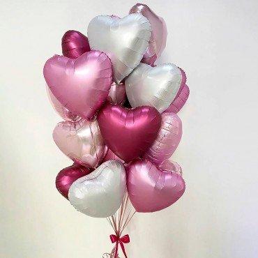 Комплект шаров из фольгированных сердец
