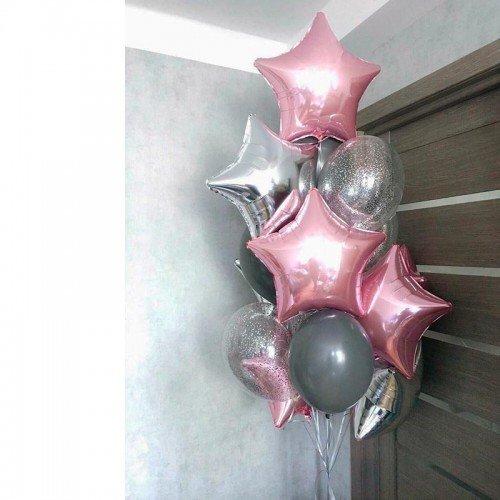 Облако воздушных шариков с серебряными звездами