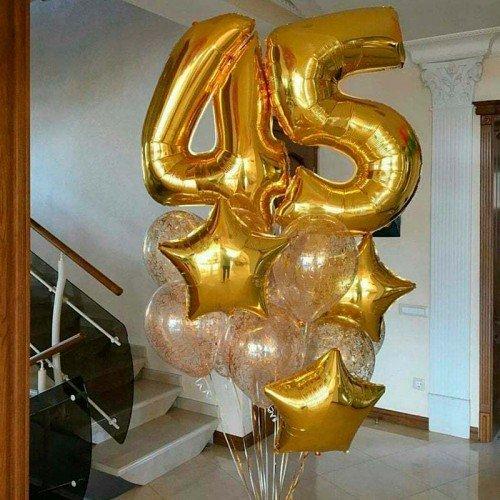 Шарики воздушные на юбилей 45 лет золотые