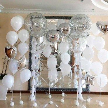 Комплект свадебных шариков в белом и серебряном цвете