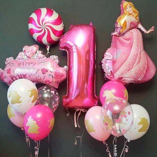 Шарики для девочки на 1 годик с принцессой