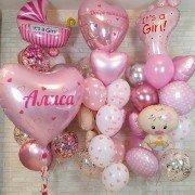 Комплект шаров на выписку девочки с сердцами и пупсами