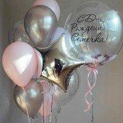 Фонтан шаров на день рождения с шаром баблс