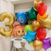 Композиция шариков Фиксики со звездами на 3 года