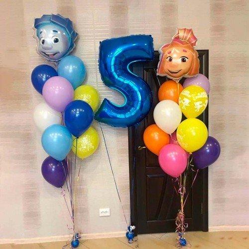 Комплект воздушных шариков на день рождения с Фиксиками