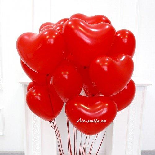 Гелиевые красные сердца на 14 февраля