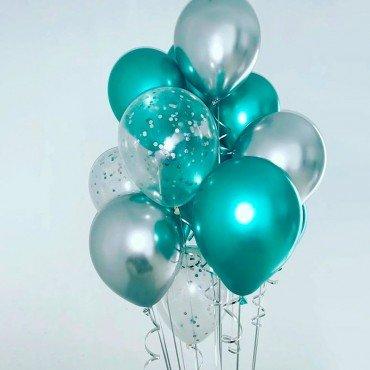 Фонтан из шариков в зеленых оттенках