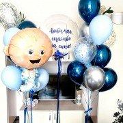 Комплект шаров на выписку мальчика с пупсом
