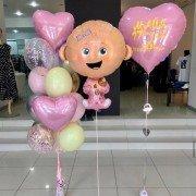 """Набор шаров на выписку девочки """"Розовые сердца"""""""
