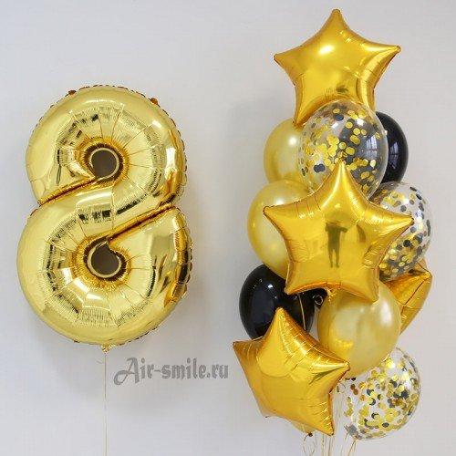 Композиция из шаров с цифрой 8 золото