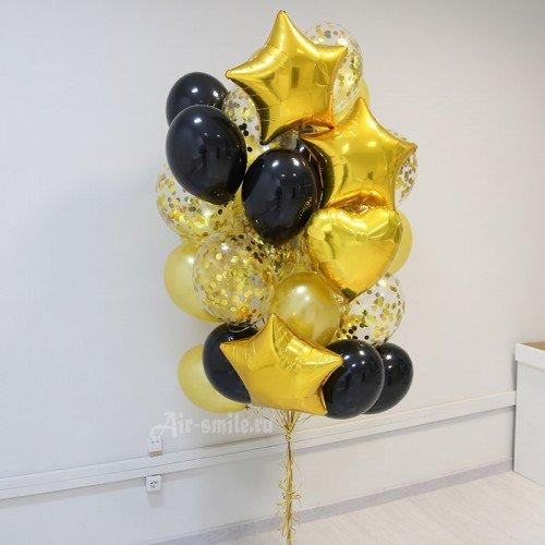 Облако из шаров чёрного и золотого цвета