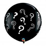 Черный круглый шар со знаками вопроса 60 см