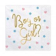 Салфетка Boy or Girl белая 33 см 20 шт