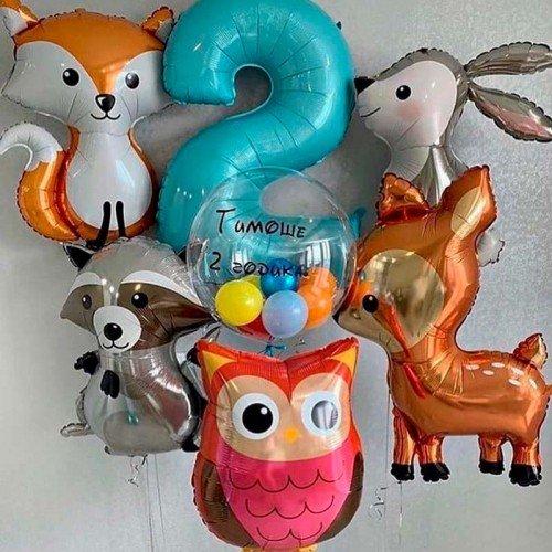 Набор шариков с лесными зверятами на день рождения мальчика
