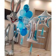 Комплект шаров для мальчика на 1 годик с Багз Банни