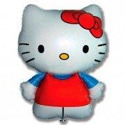 Воздушный шар Фигура, Hello Kitty, Котенок с бантиком, Голубой