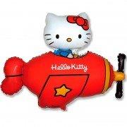 Воздушный шар Hello Kitty Котенок в самолёте, красный
