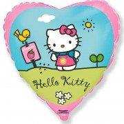 Воздушный шар Hello Kitty Сердце, Котенок в саду, Розовый