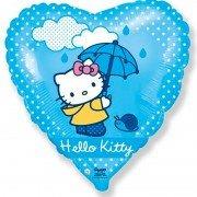 Воздушный шар Сердце, Hello Kitty, Котенок с зонтиком, Голубой
