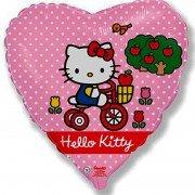 Воздушный шар Сердце, Hello Kitty, Котёнок на велосипеде, Розовый