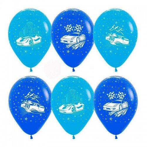 Воздушные латексные шарики с машинками для мальчика