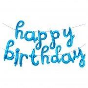 """Набор шаров-букв мини-надпись """"Happy Birthday"""" голубые 43 см"""