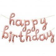 """Набор шаров-букв мини-надпись """"Happy Birthday"""" розовое золото 43 см"""