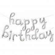 """Набор шаров-букв мини-надпись """"Happy Birthday"""" серебряные 43 см"""