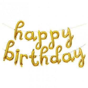 Фольгированные шары буквы Happy Birthday золотого цвета