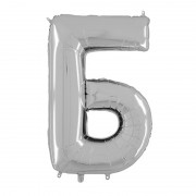 """Фольгированная буква """"Б"""" серебряного цвета 66 см"""