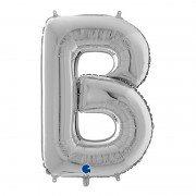 """Фольгированная буква """"В"""" серебряного цвета 66 см"""