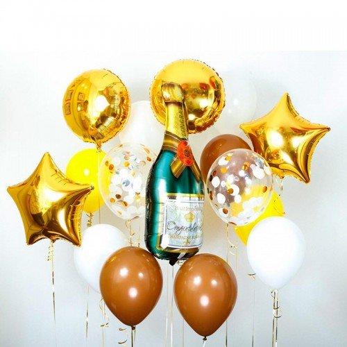 Комплект воздушных шаров на новый год с шампанским