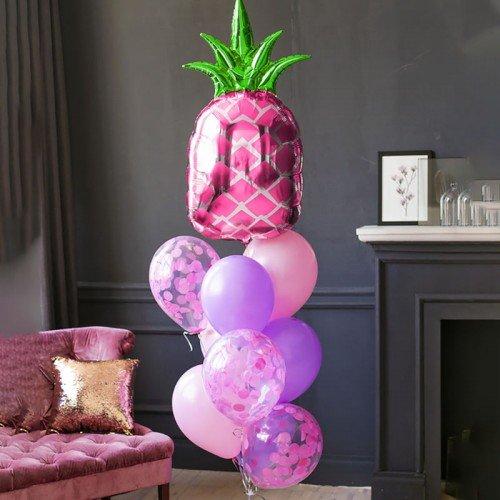 Комплект шаров в подарок с ананасом