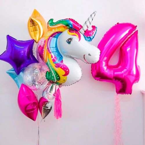 Комплект шаров на день рождения с единорогом