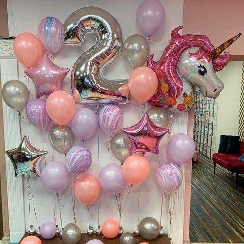 Набор шаров на день рождения 2 года с единорогом