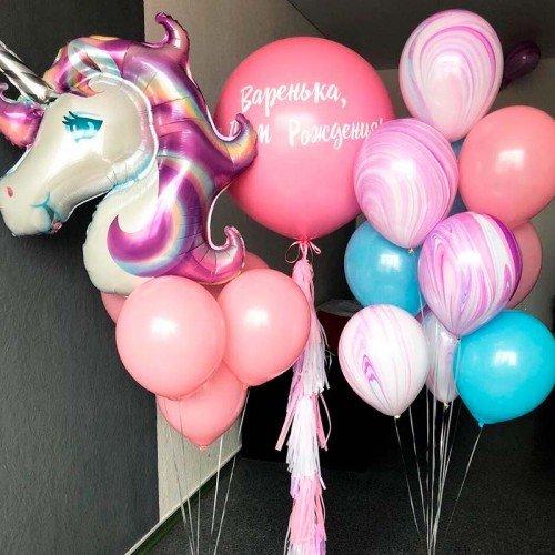 Набор шариков на день рождения с единорогом