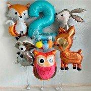 """Комплект шаров на 2 годика """"Лесные зверята"""""""