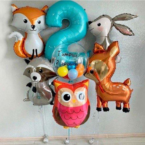 Комплект шаров с лесными зверятами на день рождения
