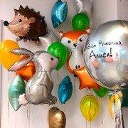 """Комплект шаров с лесными зверятами """"С Днем Рождения"""""""