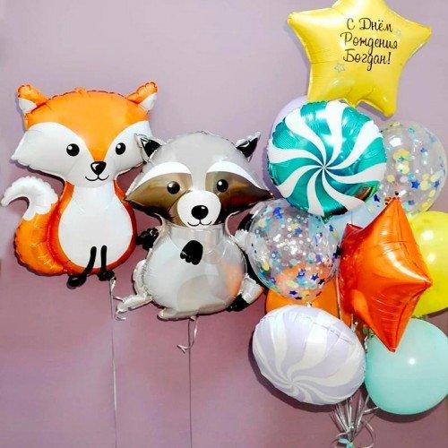 Набор воздушных шариков с лисой и енотом