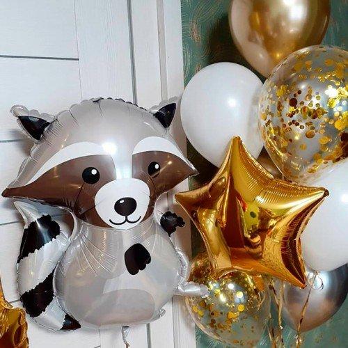 Набор воздушных шариков в подарок с енотом