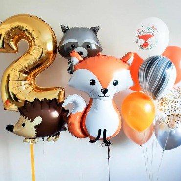 Набор из воздушных шаров с лесными животными на день рождения