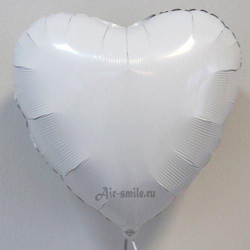Фольгированное сердце белого цвета