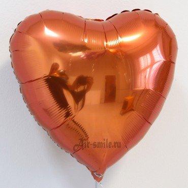 Фольгированный шар сердце оранжевого цвета