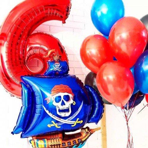 Шарики воздушные на день рождения для мальчика с кораблем пиратским
