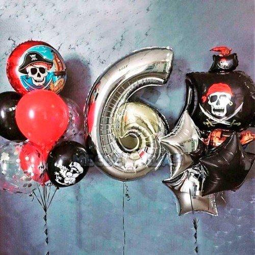 Сет шаров на день рождения с пиратами и кораблями