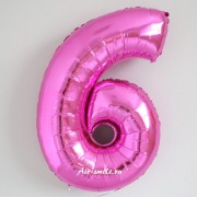 """Фольгированный шар цифра 6 Розовая """"Pink"""""""