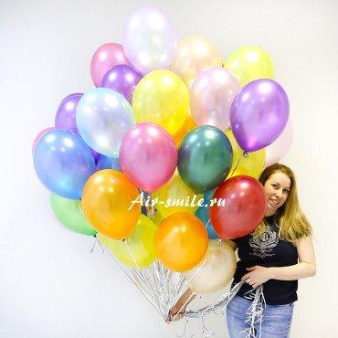 Гелиевые шарики металлик ассорти яркие цвета